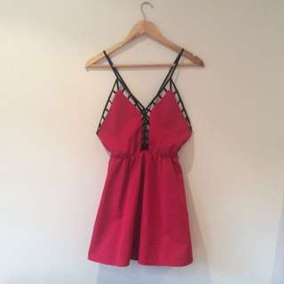 Red Playsuit With Open Back