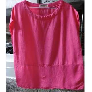 正韓 粉色圓領衫