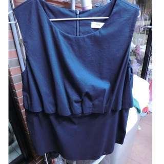 正韓 深藍色無袖衫