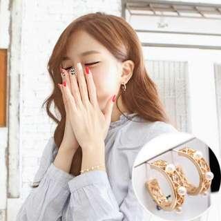 金色珍珠耳環