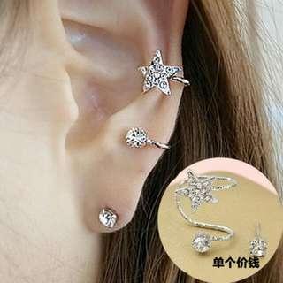 星耳夾加單鑽耳環