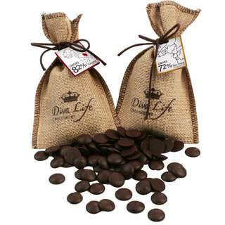 diva life 比利時濃度 82%坦尚尼亞鈕扣巧克力烘培產地麻布袋 72%純度聖多美100g GODIVA古董珠寶盒