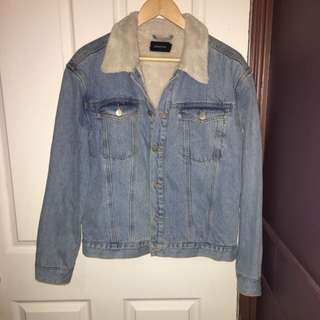 Minkpink Denim Jacket with Fur Collar (size Medium)