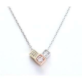 For Princess韓國飾品三色方塊鑲鑽短鍊項鍊