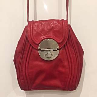 Red Leather Mimco Small Pouch Bag