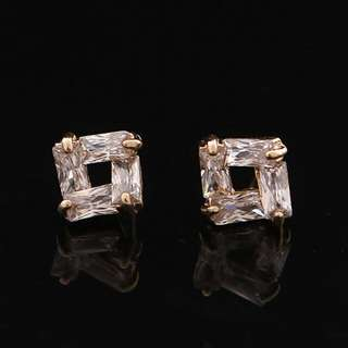 金色方形浩石氣質耳環