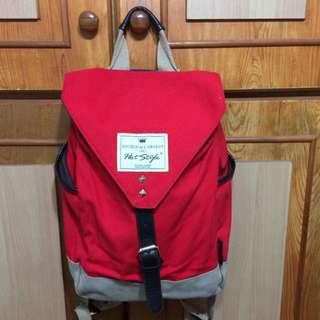 紅色🎀 帆布 後背包 麂皮