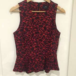 Cue Red And Black Floral Peplum Top