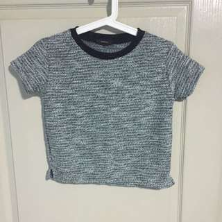 Textured Knit Round Neck Tee