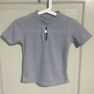 Grey Knitted Keyhole Top