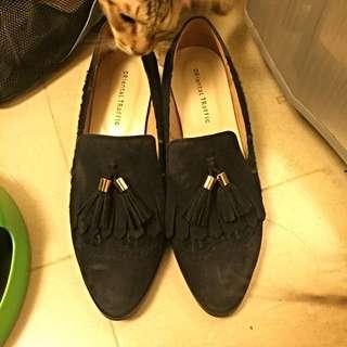 日牌Oriental Traffic 麂皮拼接格紋高跟鞋