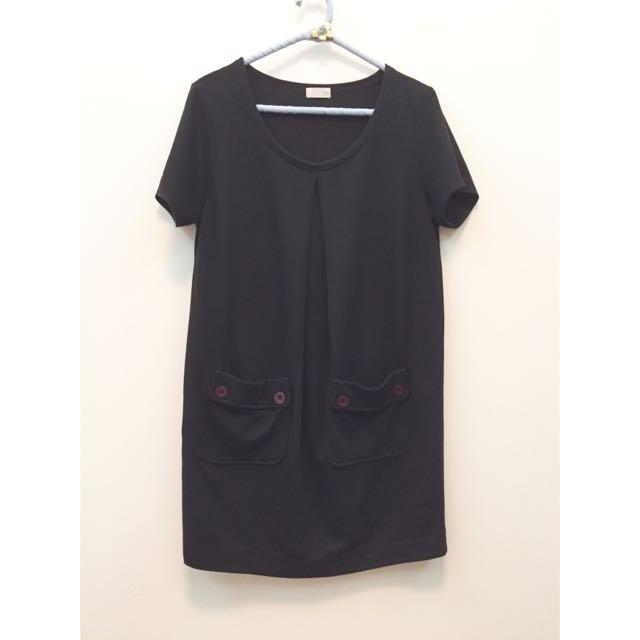 韓風前口袋造型黑色長版 /洋裝