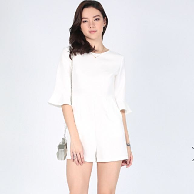 9861f0c93c5c BN Love Bonito White Bevi Bell Sleeve Playsuit XL