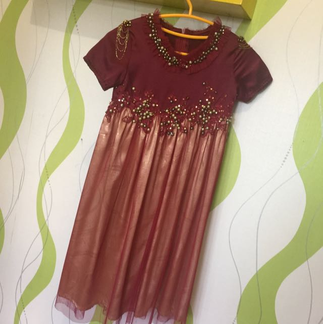 Dress Maroon Gold Size Age 5-6 Thn
