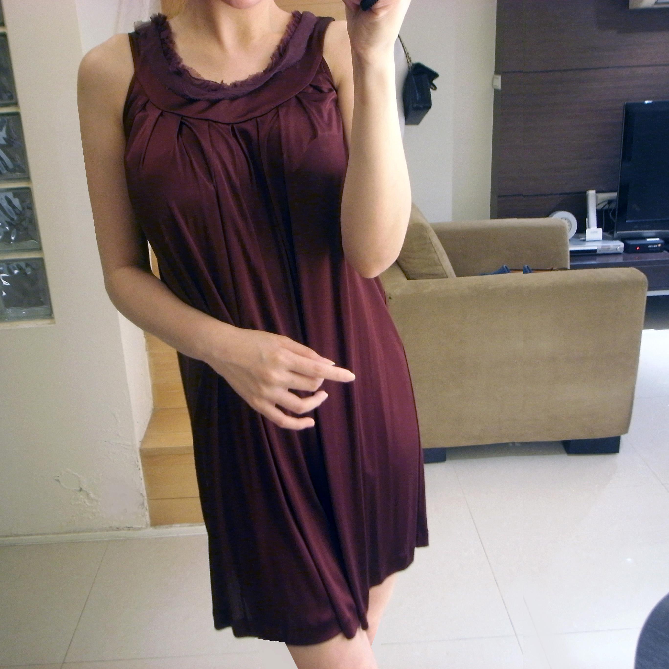 FENDI Satin Silk Trim Pleated Dress