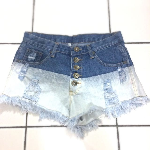 high waist denim ombre short pants