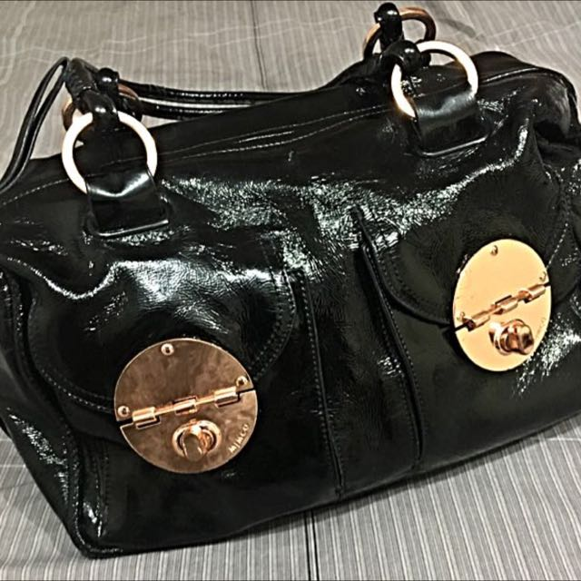 Mimco Loves Patent Rose Gold Turnlock Black Bag