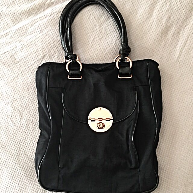 Mimco Rose Gold Turn Lock Tote In Black Bag