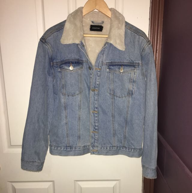 Minkpink Denim Jacket with Fur Collar (size Medium)