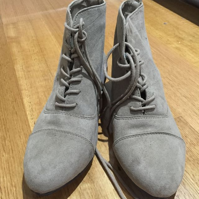 Nude Lace Up Boots