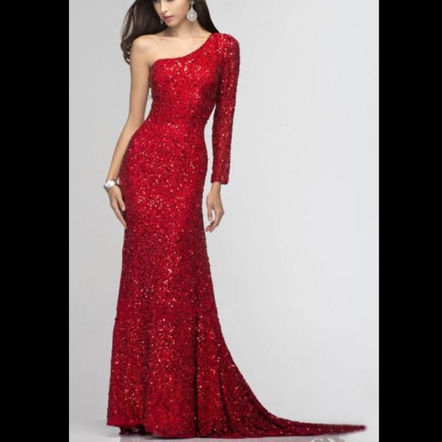 one sleeve long seqin dress (red)