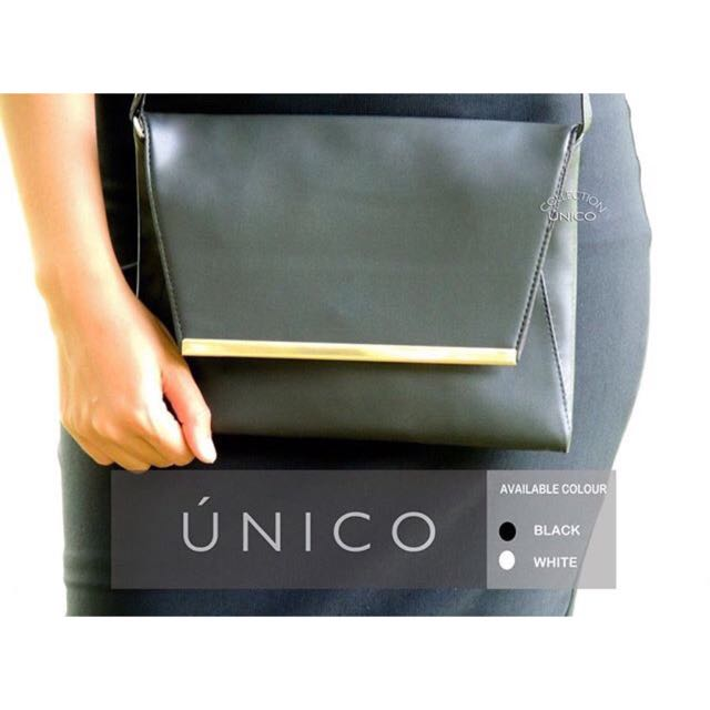 Platted Black Clutch