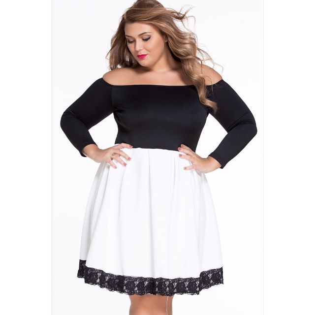 Plus Size Black Long Sleeve Skater Dress - Dress Foto and Picture