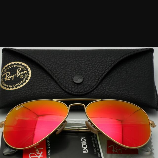 a3e33491c854 Rayban Aviator Mirrored Flashlens Matte Gold Frame - Red Orange ...