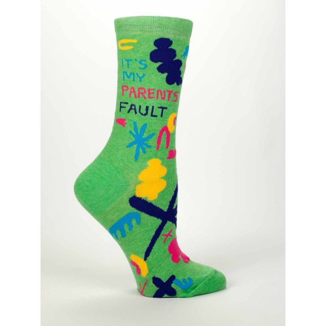 Women's Crew Socks - Its My Parent's Fault - Blue Q Quirky and Funny Gifts