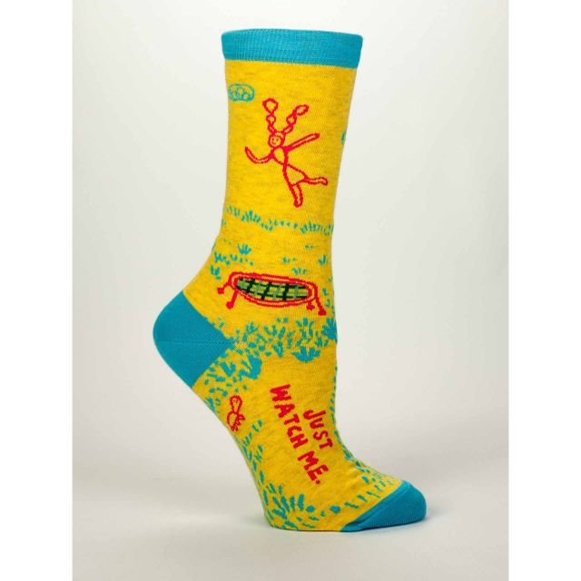 Women's Crew Socks - Just Watch Me - Blue Q Funny and Quirky Socks