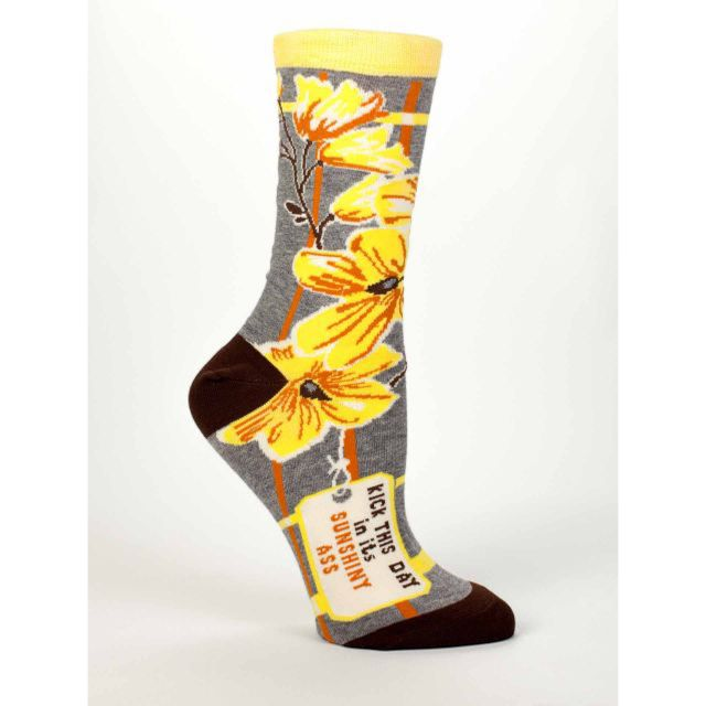 Women's Crew Socks - Kick This Day - Blue Q Funny and Quirky Socks