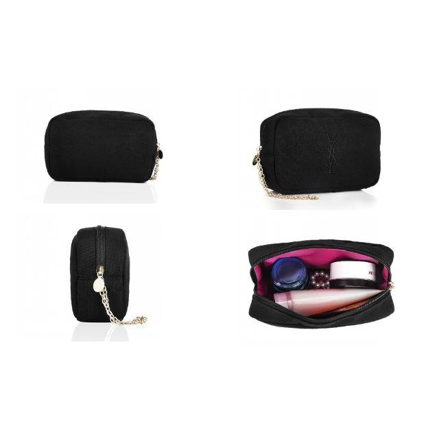 YSL 聖羅蘭 黑色刺繡帆布 化妝包 大容量手機包 零錢包 收納包 鍊子可當手提包