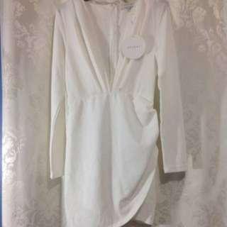 Long Sleeve Plunge Dress