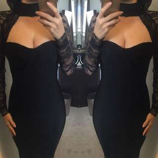 Lace Bodycon Black Bandage Sexy Choker Lace Dress Size 6 8 10 12