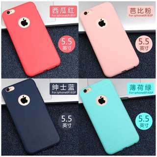Iphone6plus手機殼磨砂矽膠軟殼全包防摔保護套6色