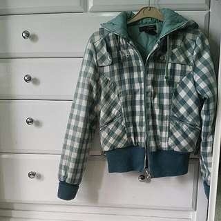 Checkered Teal And White Hooded Jacket