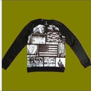 men's crew neck sublimation print sweater jumper size M