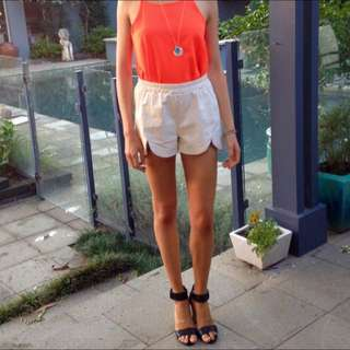 White Mika & Gala Faux Leather Shorts