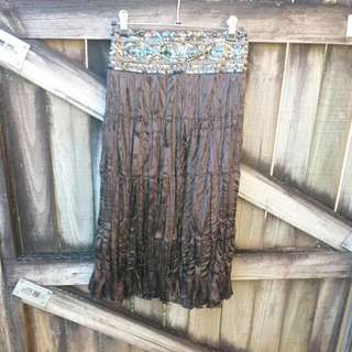 Beautiful URBAN Brown Sequin Skirt 12 (10 If Worn On Hips).