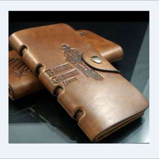 Pockets Men's Leather Bifold Purse Long Brown Wallet ID Card Holder
