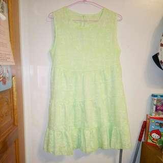 !贈送!全新粉綠印花洋裝