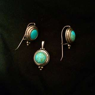925 Stirling Silver -turquoise Set