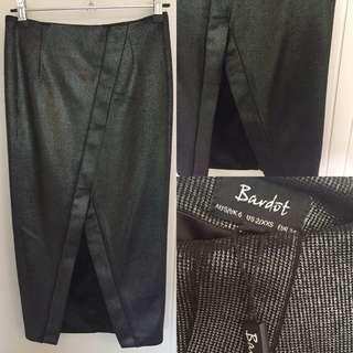 Bardot Metallic Silver Grey Midi Skirt Size 6