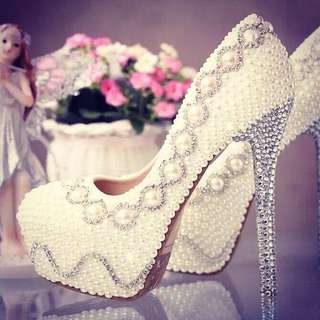 MAVIS花花御用❤️水鑽珍珠高跟鞋❤️婚鞋 原4980