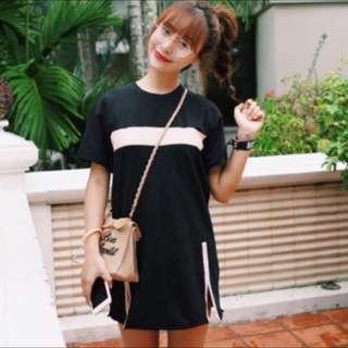 Black w/ White Stripes Shirt Dress