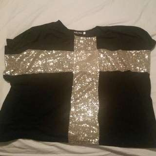 Sequin Cross Top