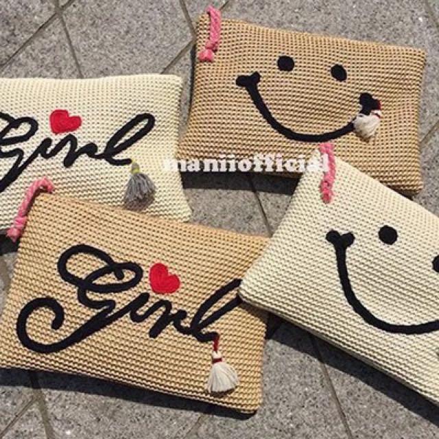 韓國代購编織刺绣笑臉爱心流蘇可爱手提包信封包手包