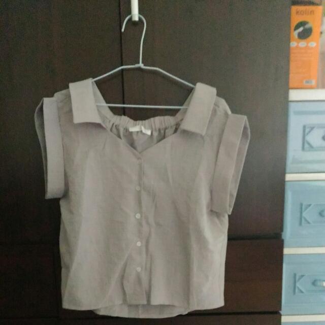 (氣質灰)白搭翻領短袖襯衫(含運)