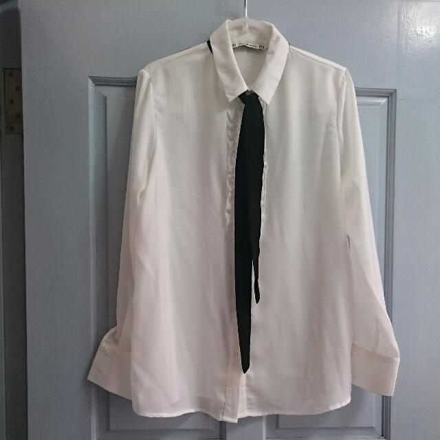 白色薄雪紡襯衫(二手)