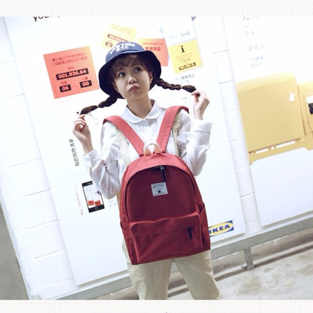 【預購】簡約純色原宿韓版後背包休閒旅行背包